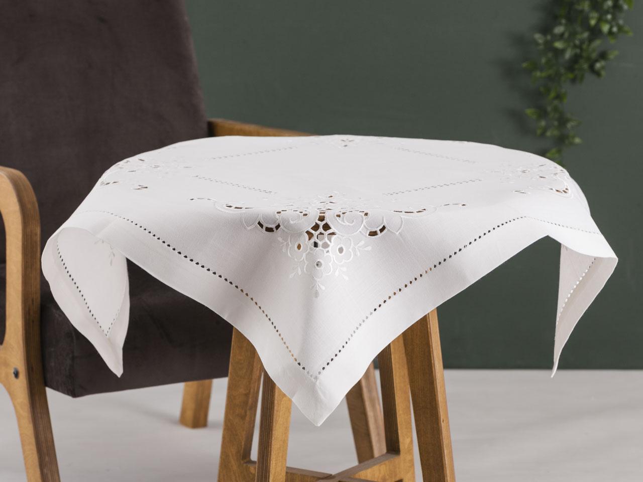Obrus / serweta na stół Altom Design Ecru Wykończenie ażurowe 80x80 cm