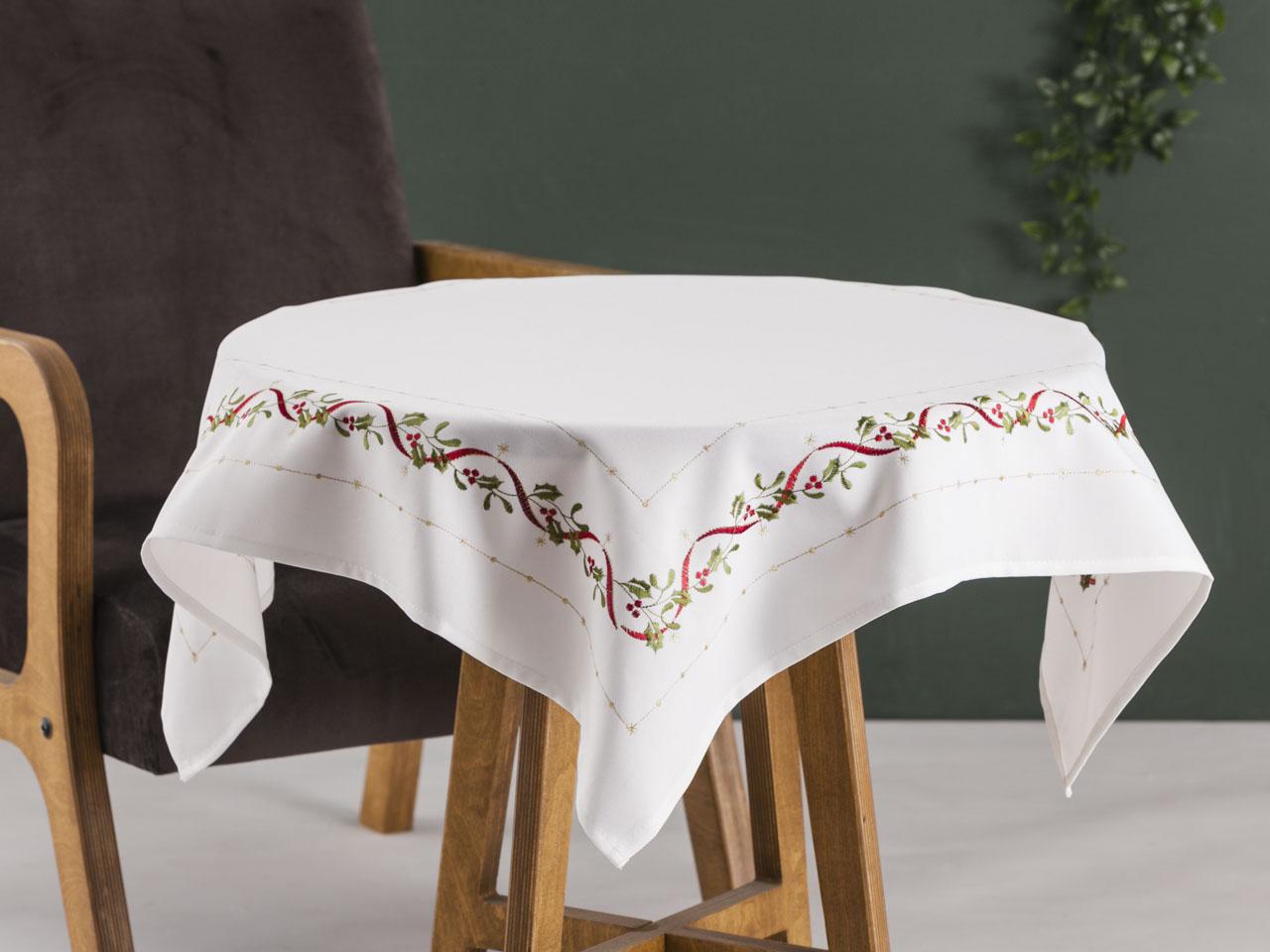 Obrus / serweta na stół świąteczna Boże Narodzenie Altom Design Joy Ecru dek. I 80x80 cm