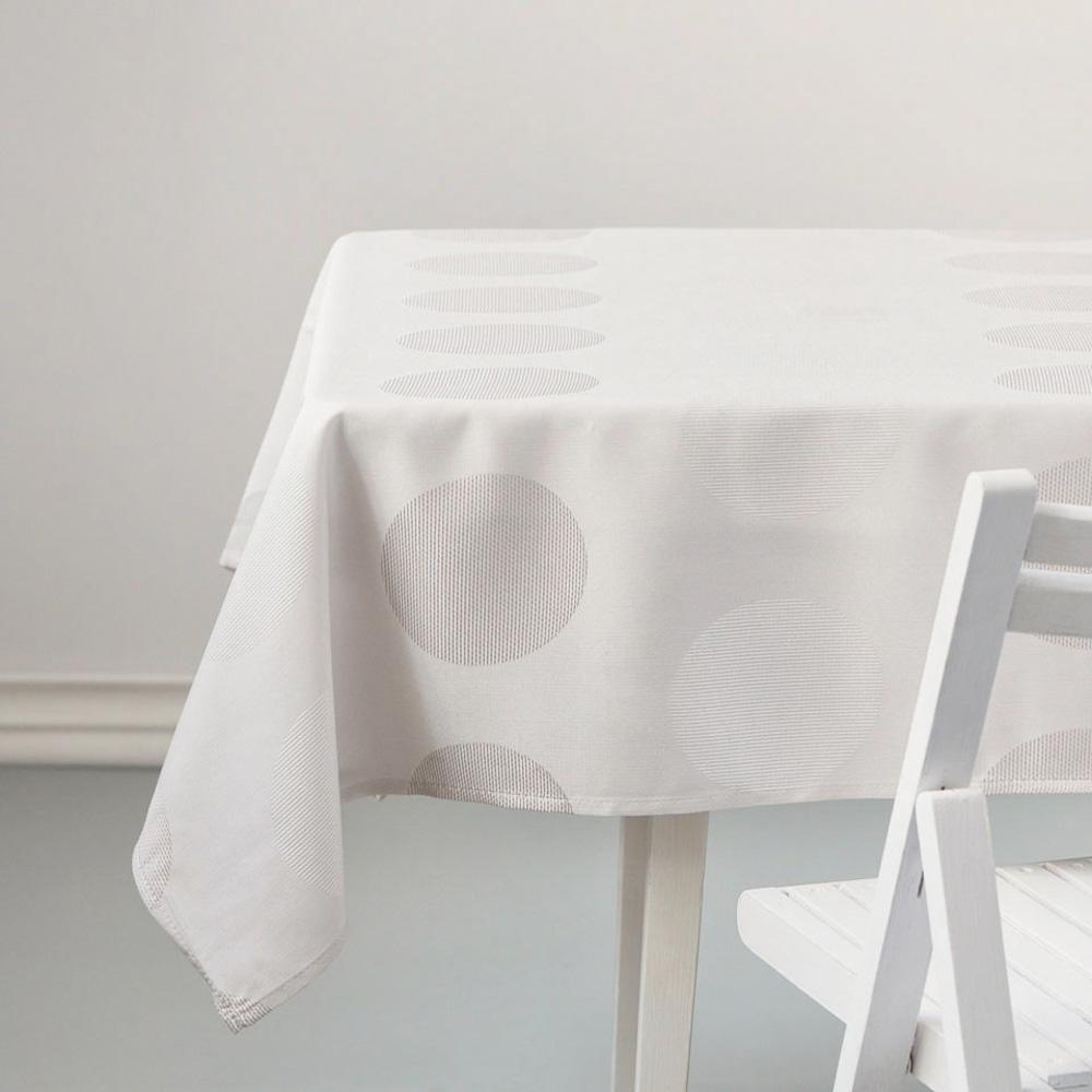 Obrus na stół kremowy (ecru) Altom Design, dekoracja Ciemne Kółka 180x140 cm
