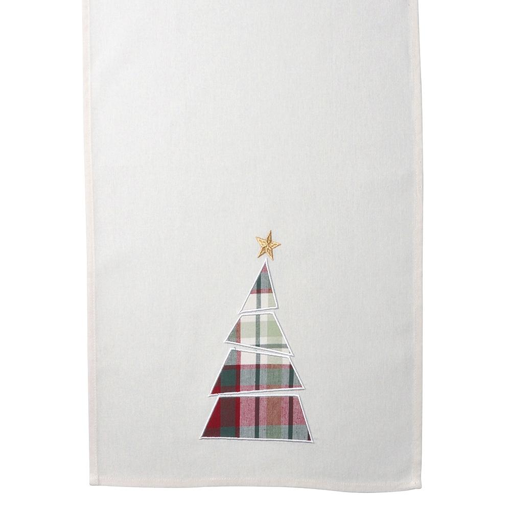 Bieżnik na stół bawełniany świąteczny Altom Design Victoria Red, dekoracja Choinka 40 x 140 cm