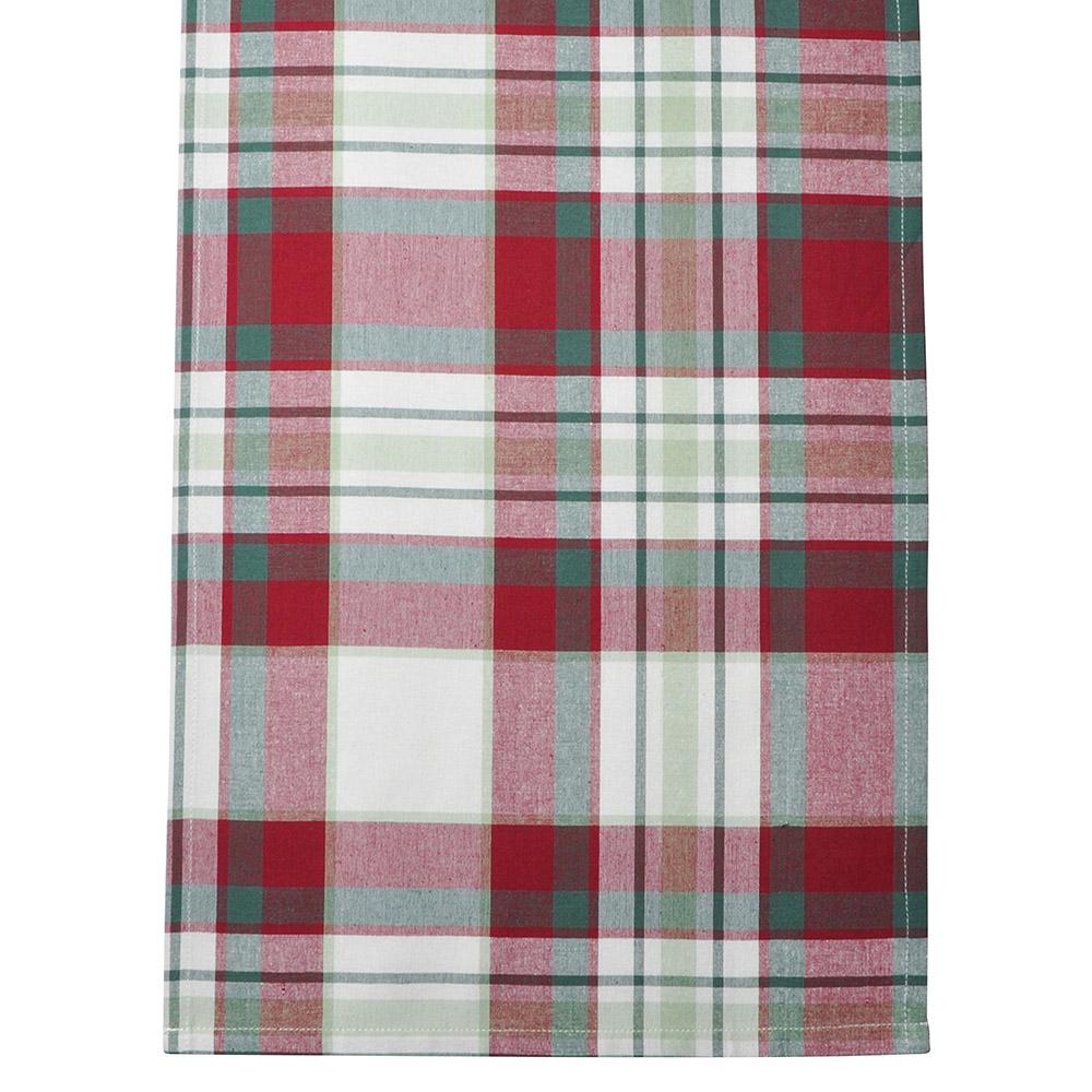 Bieżnik na stół bawełniany świąteczny Altom Design Victoria Red, dekoracja Kratka 40 x 140 cm