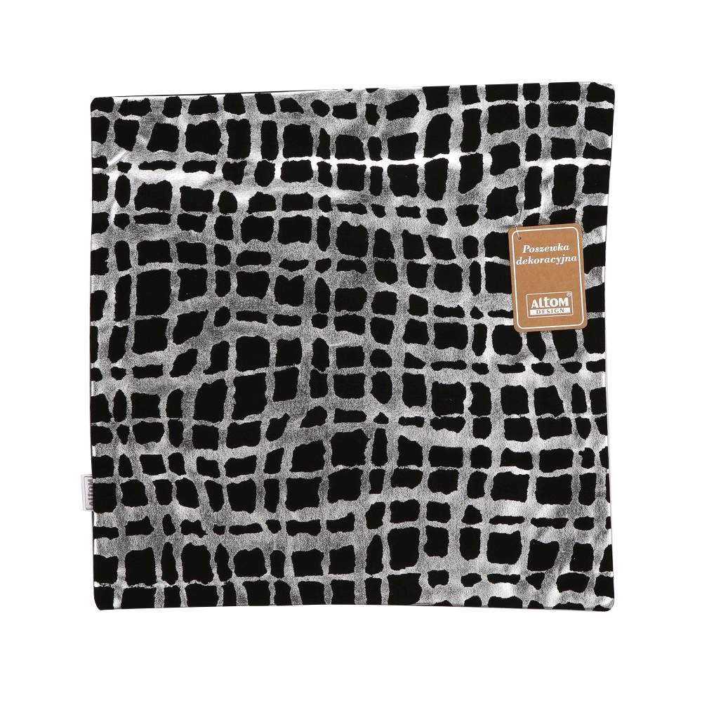 Cushion -foil print 40x40cm silver strips