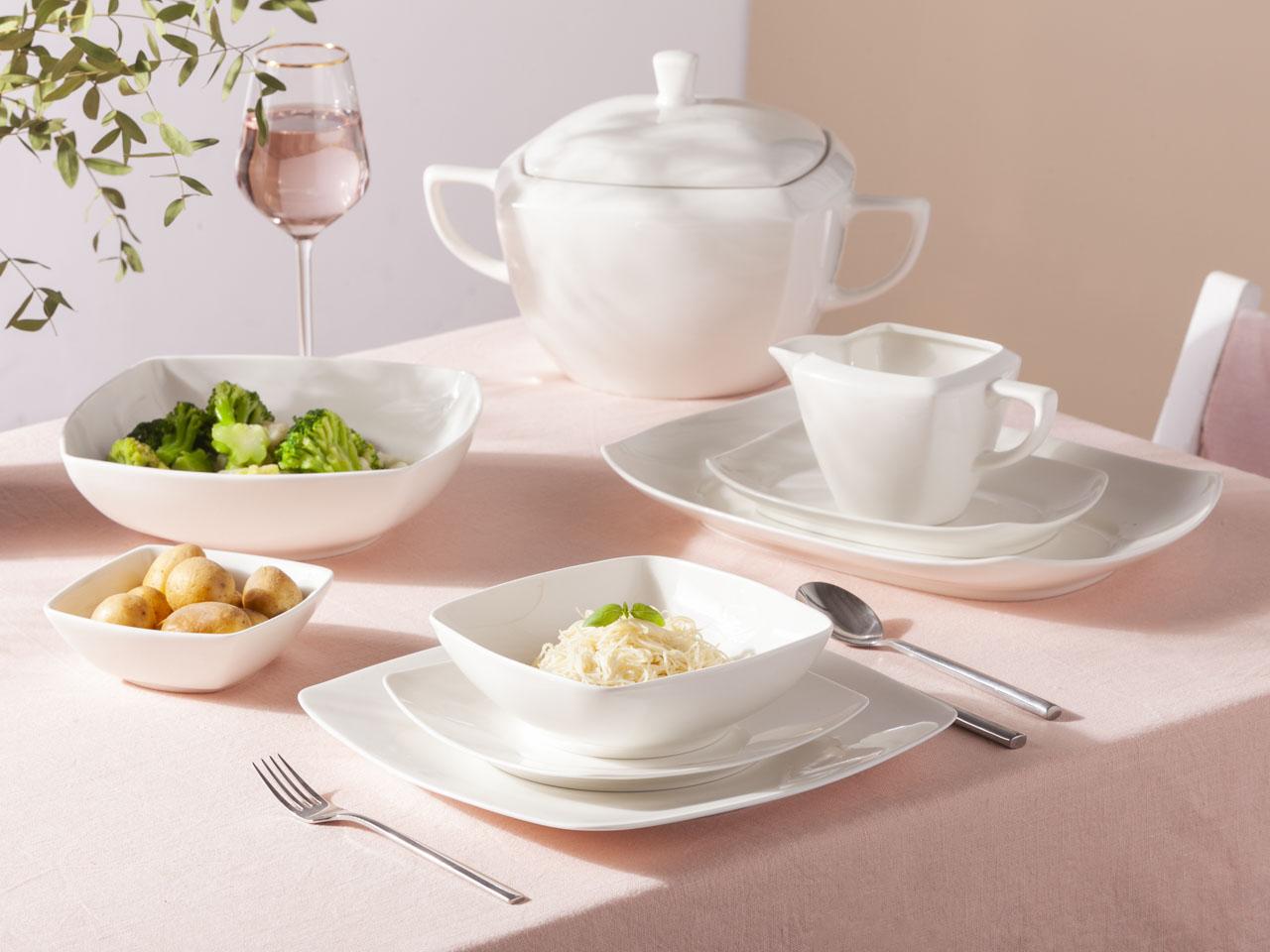 Serwis / Zestaw obiadowy na 12 osób porcelanowy Karolina Hiruni (42 elementy)
