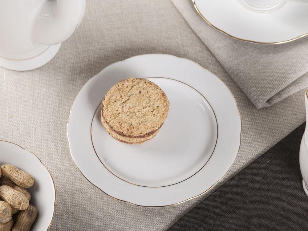 Talerz deserowy porcelana Ćmielów Feston Złoty Pasek (3604) 17 cm