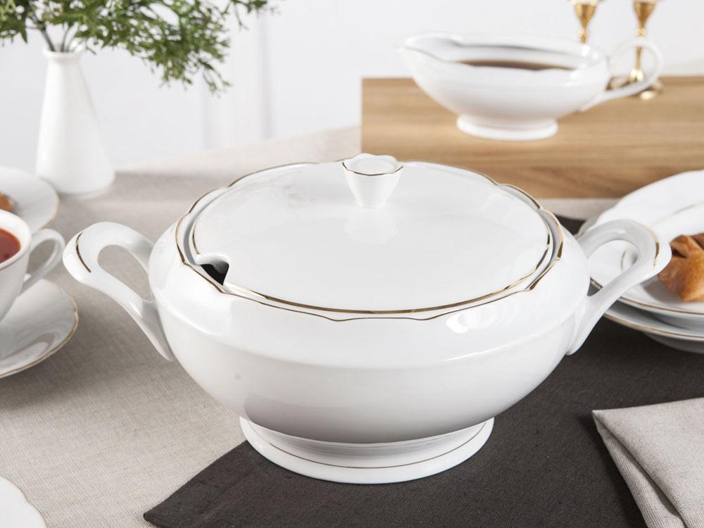 Waza do zupy porcelana Ćmielów Feston Złoty Pasek (3604) 3,0 L