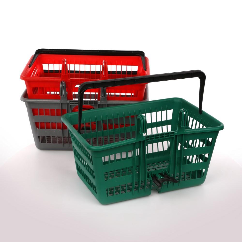 Koszyk na rower plastikowy z haczykami i uchwytem Katex 40x30x26 cm