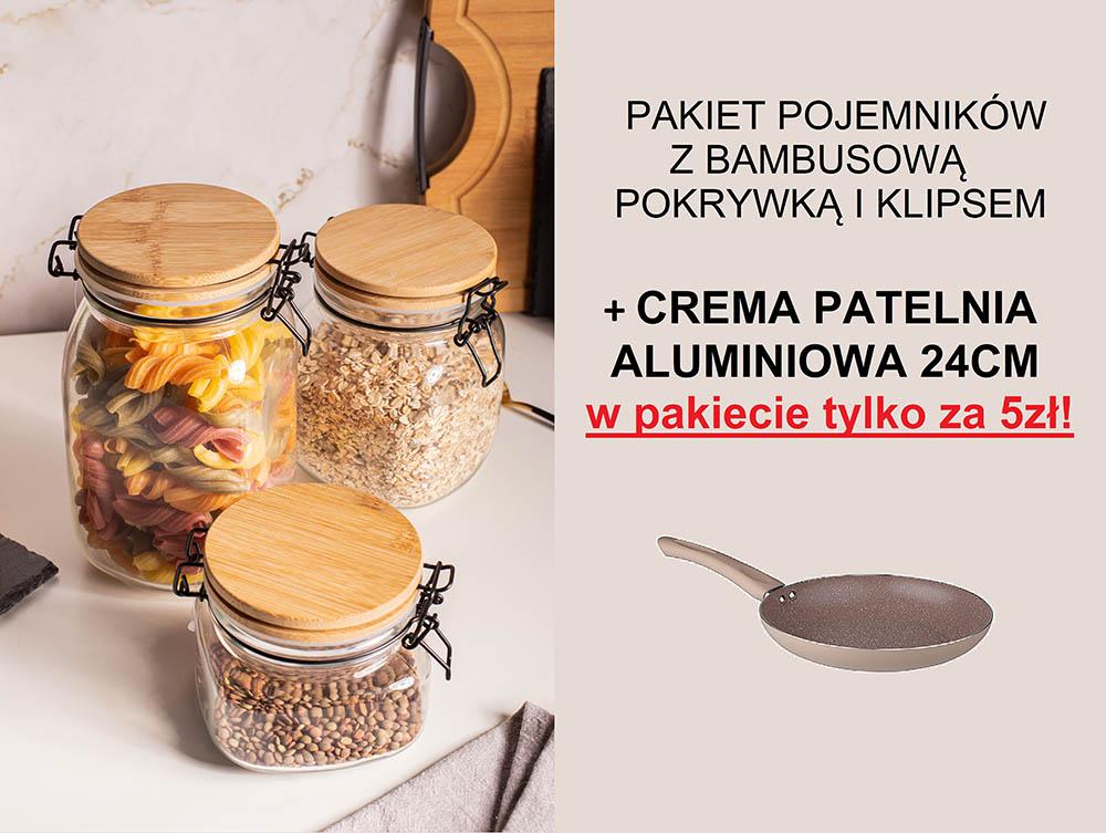 PAKIET POJEMNIKÓW Z BAMBUSEM PLUS PATELNIA